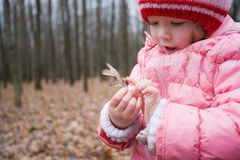 Child at forest Stock Photo