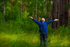 Child in forest (park) Royalty Free Stock Images