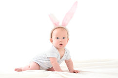 Child in form of an Easter bunny Royalty Free Stock Photos