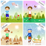 Child in the four seasons Stock Images