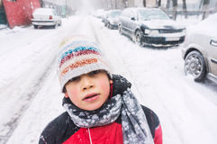 Child in freezing cold weather. Child portrait in freezing cold winter weather Stock Images