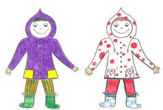 Child friends in hoods. Childs drawing of two best friends in hoods Stock Image