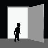 Child front of the door illustration Stock Photography