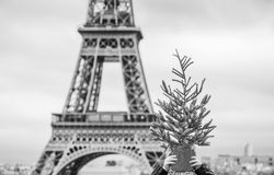 Child in front of Eiffel tower holding Christmas tree on head. The Party Season in Paris. Closeup on happy trendy child in the front of Eiffel tower in Paris Stock Photography