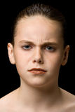 Child frowning Stock Photography