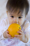 Child with fruit stock images