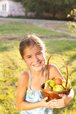 child with fruits Royalty Free Stock Image