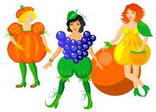 Child in fruits costumes Royalty Free Stock Images