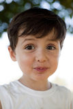 Child with fun expression. Child close up portrait doing faces outdoor Royalty Free Stock Photos