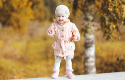 Child fun walking in autumn Royalty Free Stock Photography