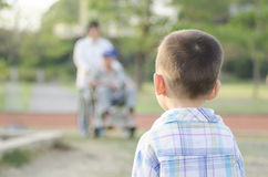 Child future. And senior social care Royalty Free Stock Image