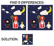 Child game - find 5 differences in pictures, with solution, Cute cartoon greeting card with Saint Nicholas, angel and devil cha. Child game - find 5 differences Stock Images