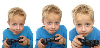 Child gaming. Child playing on a game console Stock Photos