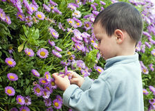 Child in the garden Royalty Free Stock Images