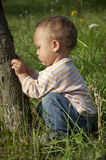 Child in garden Stock Photo