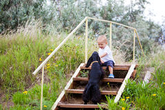 A child in the garden with dog Stock Image