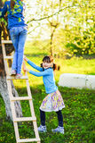 The child in garden. Royalty Free Stock Images