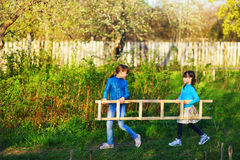 The child in garden. Royalty Free Stock Photography