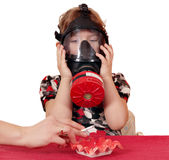 Child with gas-mask Stock Image
