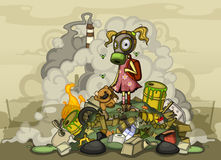 Child in a gas mask standing on a pile of garbage. Child in a gas mask in dirty clothes standing on a pile of garbage, surrounded by heaps of waste and smoke Royalty Free Stock Images