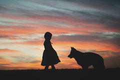 Child and German Shepherd Stock Photos