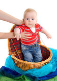 The child getting from a basket Royalty Free Stock Image