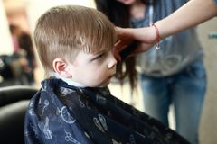 Child getting a haircut Stock Image