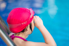 Child Getting Ready for Competition in Swimming Royalty Free Stock Photo
