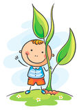 Child and giant sprout. Happy child and giant sprout Stock Image