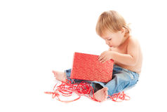 Child with gift Stock Photo