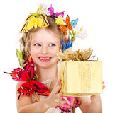 Child with gift box. Royalty Free Stock Photography