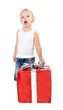 Child with gift box Stock Photo