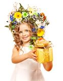 Child with gift box and flower. Royalty Free Stock Images