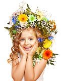 Child with gift box and flower. Stock Images