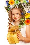 Child with gift box and flower. Stock Photo