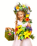 Child with gift box and flower. Stock Image