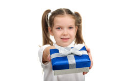 Child with a gift box Royalty Free Stock Photography
