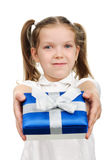 Child with a gift box Stock Photo