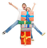 Child with gift box - holiday object concept on white Royalty Free Stock Photography