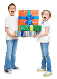 Child with gift box - holiday object concept on white Stock Image