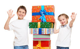 Child with gift box - holiday object concept on white Royalty Free Stock Image