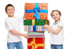 Child with gift box - holiday object concept on white Stock Photo