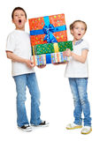 Child with gift box - holiday object concept on white Royalty Free Stock Photo