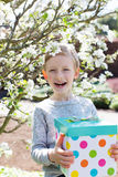 Child with giftbox Royalty Free Stock Images