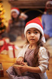 Child with giftbox Stock Images