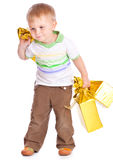 Child with gifts Royalty Free Stock Photo