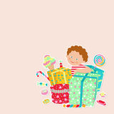 The child with gifts and sweets Stock Photography
