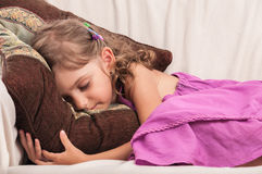 Child girl asleep close-up Royalty Free Stock Photo