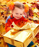 Child girl in autumn orange leaf and gift box. Royalty Free Stock Images