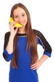 Child girl with banana phone Royalty Free Stock Photos